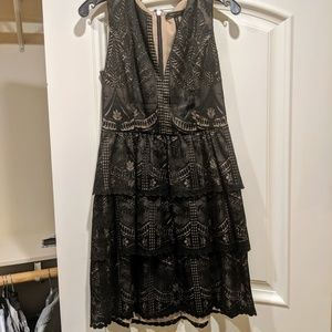 BCBG MaxAzria Black Lace Tiered Dress